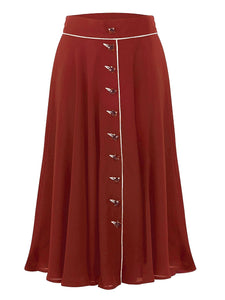 "1940s Style ""Rita"" Swing Skirt in Wine with Ivory Detailing By The Seamstress Of Bloomsbury"