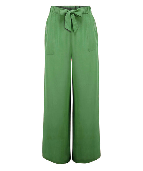 """Winnie"" Wide Leg Loose Fit Trousers in Vintage Green, Authentic 1940s Style - RocknRomance True 1940s & 1950s Vintage Style"