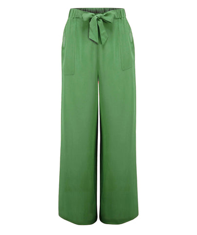 "The Seamstress Of Bloomsbury ""Winnie"" Wide Leg Loose Fit Trousers in Vintage Green, Authentic 1940s Style - RocknRomance Clothing"