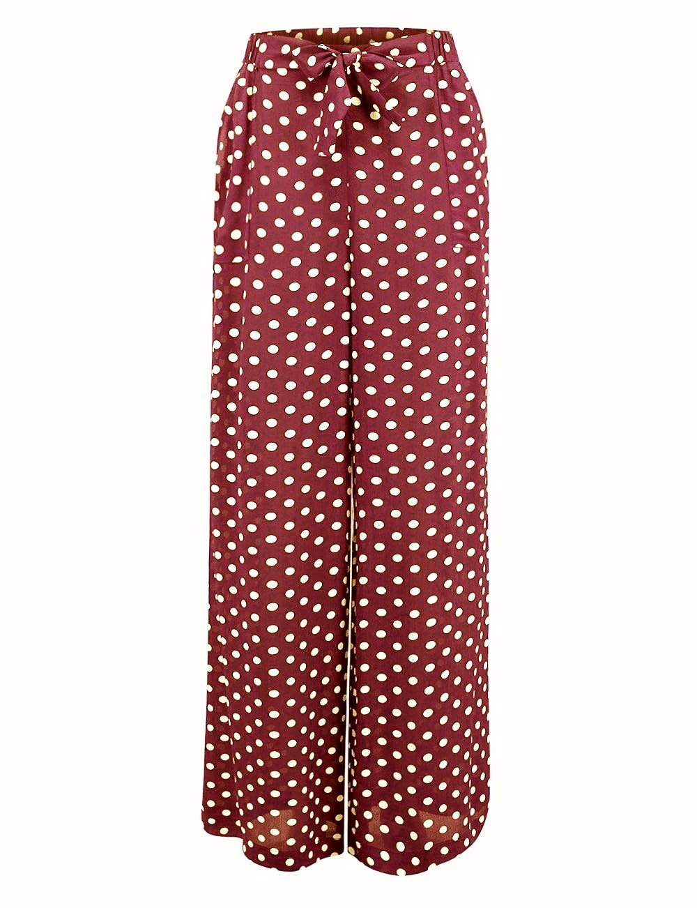 """Winnie"" Wide Leg Loose Fit Trousers in Wine with Polka Dot Spot by The Seamstress of Bloomsbury, Authentic Vintyage 1940s Style Vintage Inspired"