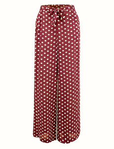 "The Seamstress Of Bloomsbury ""Winnie"" Wide Leg Loose Fit Trousers in Wine with Polka Dot Spot, Classic 1940s Style - RocknRomance Clothing"