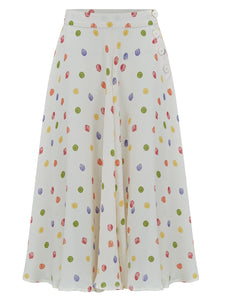"The Seamstress Of Bloomsbury The 1940s Vintage Inspired ""Isabelle"" Skirt in Multi Colour Polka Dot Spots by The Seamstress of Bloomsbury - RocknRomance Clothing"