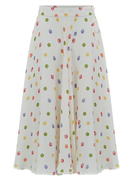 "The 1940s Vintage Inspired ""Isabelle"" Skirt in Rainbow Polka Dot Spots by The Seamstress of Bloomsbury"