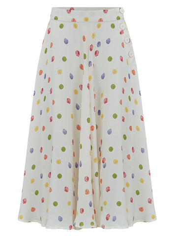 "The 1940s Vintage Inspired ""Isabelle"" Skirt in Multi Colour Polka Dot Spots by The Seamstress of Bloomsbury"