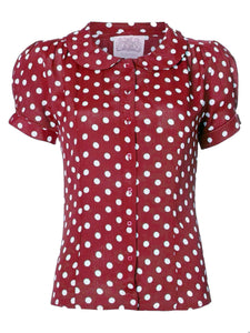 "The Seamstress Of Bloomsbury ""Jive"" Short Sleeve Blouse in Wine with Polka Dot Spot, Classic 1940s Vintage Style - RocknRomance Clothing"