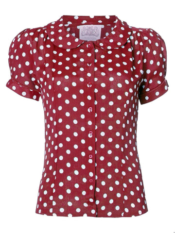 """Jive"" Blouse in Wine with Polka Dot Spot by The Seamstress Of Bloomsbury, Classic 1940s Vintage Inspired Style"