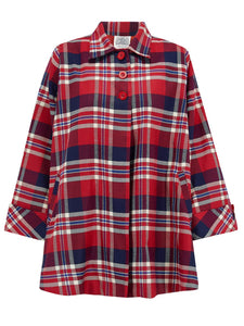 The Seamstress Of Bloomsbury Swing Jacket in Red & Navy Check, Vintage 1940s Cape Style Inspired - RocknRomance Clothing