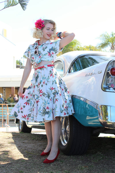 "Rock n Romance ""Swing Skirt"" with Pockets in Hawaiian Print, Authentic 1950s Vintage Tiki Style - RocknRomance Clothing"