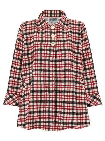 The Seamstress Of Bloomsbury Swing Jacket in Red & Beige Check, Vintage 1940s Cape Style Inspired - RocknRomance Clothing