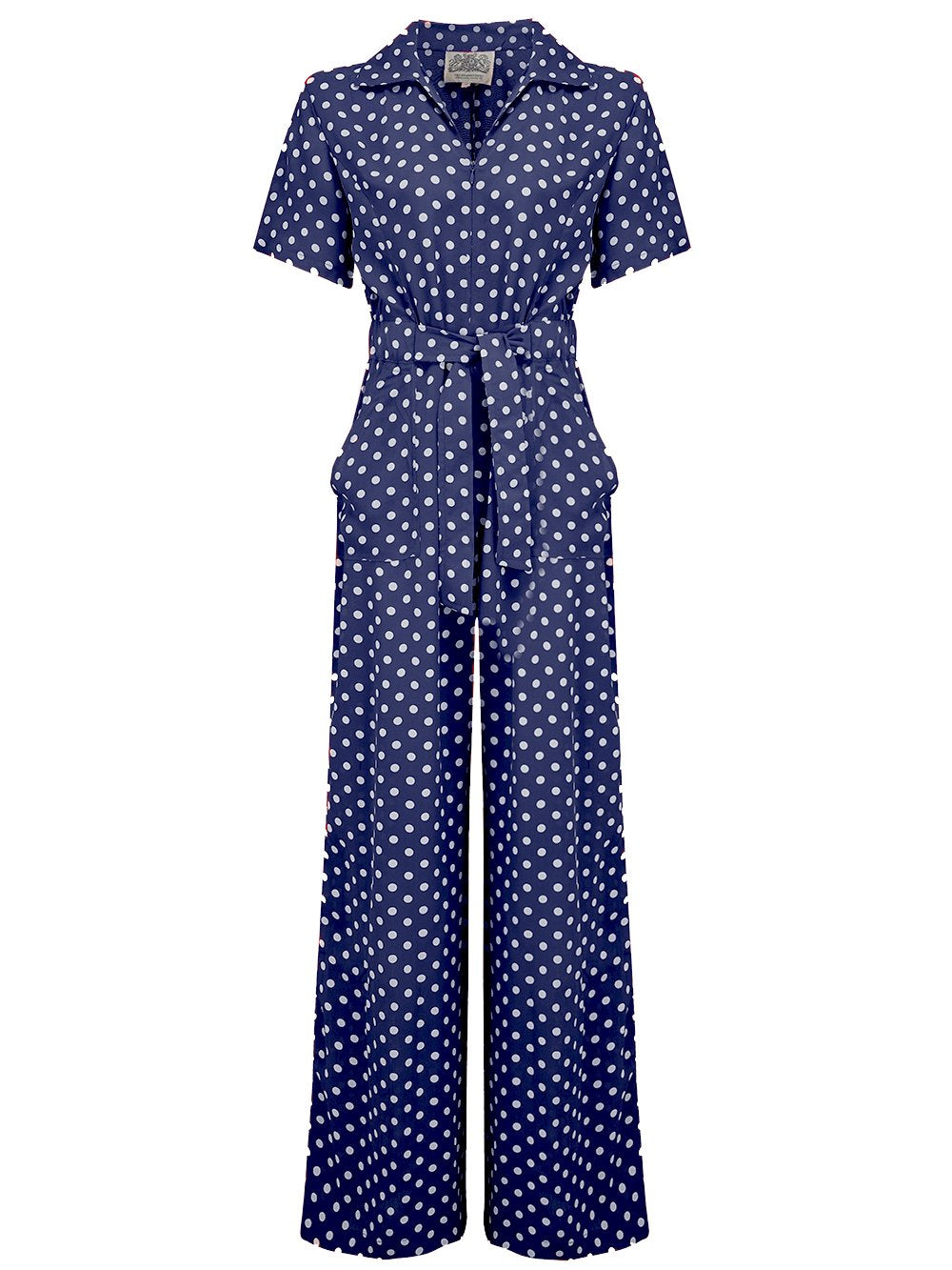 "The Seamstress Of Bloomsbury ""Lauren"" Siren Jump Suit in Navy Blue with Polka Dot Spots by The Seamstress of Bloomsbury, Classic 1940s Vintage Style - RocknRomance Clothing"