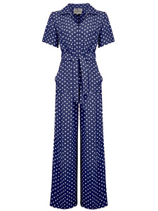 """Lauren"" Siren Jump Suit in Navy Blue with Polka Dot Spots by The Seamstress of Bloomsbury, Classic 1940s Vintage Style"