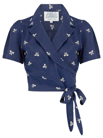 "The Seamstress Of Bloomsbury ""Greta"" Wrap Blouse in Navy Blue with Bow Print by The Seamstress Of Bloomsbury, Classic 1940s Vintage Inspired Style - RocknRomance Clothing"