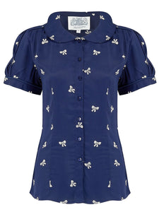 """Jive"" Short Sleeve Blouse in Navy Blue with Bow Print, Classic 1940s Vintage Style - RocknRomance True 1940s & 1950s Vintage Style"