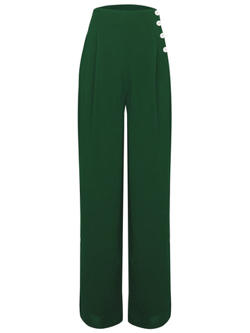 "The Seamstress Of Bloomsbury ""Audrey"" Trousers in Vintage Green, Totally Classic 1940s Vintage Style - RocknRomance Clothing"