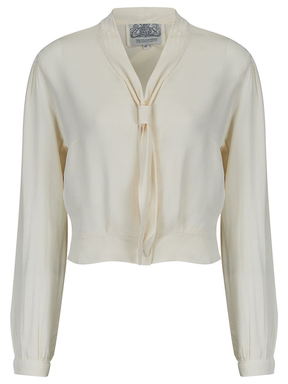 1940s Blouses and Tops Bonnie Long Sleeve Blouse Cream by The Seamstress of Bloomsbury Classic 1940s Vintage Inspired Style £39.00 AT vintagedancer.com