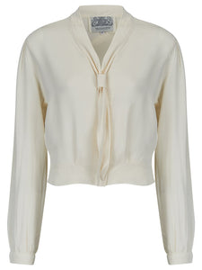 """Bonnie"" Long Sleeve Blouse Cream by The Seamstress of Bloomsbury, Classic 1940s Vintage Inspired Style - RocknRomance True 1940s & 1950s Vintage Style"