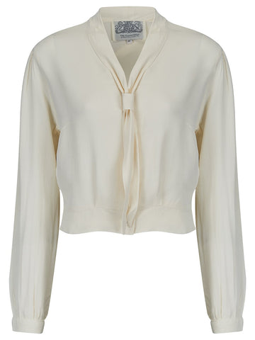 """Bonnie"" Long Sleeve Blouse Cream by The Seamstress of Bloomsbury, Classic 1940s Vintage Inspired Style"