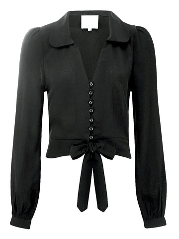 """Clarice"" Long Sleeve Blouse in Plain Black, Authentic Classic 1940s Vintage Inspired Style - RocknRomance True 1940s & 1950s Vintage Style"