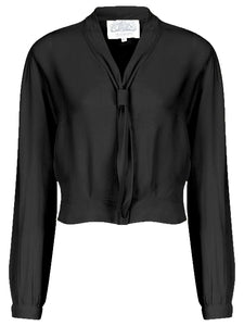 """Bonnie"" Long Sleeve Blouse in Black by The Seamstress of Bloomsbury, Classic 1940s Vintage Inspired Style - RocknRomance True 1940s & 1950s Vintage Style"