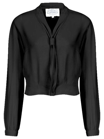 "The Seamstress Of Bloomsbury ""Bonnie"" Long Sleeve Blouse in Black by The Seamstress of Bloomsbury, Classic 1940s Vintage Inspired Style - RocknRomance Clothing"