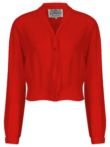 """Bonnie"" Long Sleeve Blouse in Red, Classic 1940s Vintage Inspired Style - RocknRomance True 1940s & 1950s Vintage Style"