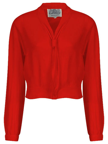 "The Seamstress Of Bloomsbury ""Bonnie"" Long Sleeve Blouse in Red, Classic 1940s Vintage Inspired Style - RocknRomance Clothing"