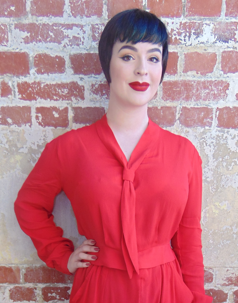 """Bonnie"" Long Sleeve Blouse in Red by The Seamstress of Bloomsbury, Classic 1940s Vintage Inspired Style"