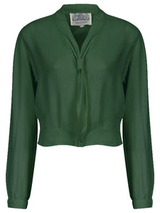 "The Seamstress Of Bloomsbury ""Bonnie"" Long Sleeve Blouse in Vintage Green, Classic 1940s Vintage Inspired Style - RocknRomance Clothing"