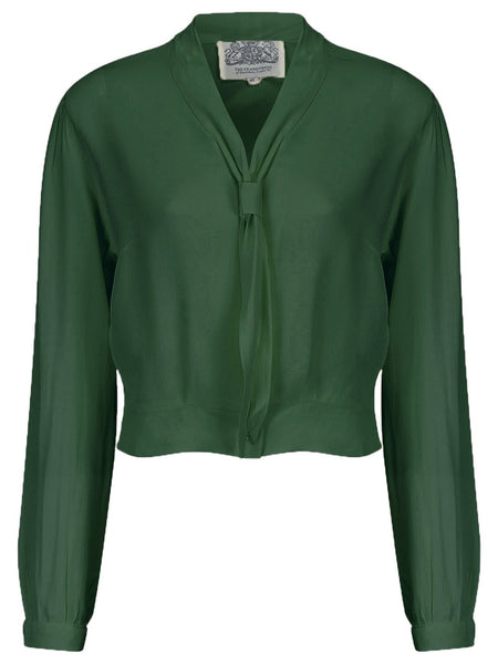 """Bonnie"" Long Sleeve Blouse in Vintage Green by The Seamstress of Bloomsbury, Classic 1940s Vintage Inspired Style"