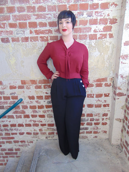 """Bonnie"" Long Sleeve Blouse in Deep Wine by The Seamstress of Bloomsbury, Classic 1940s Vintage Inspired Style"