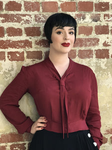 "The Seamstress Of Bloomsbury ""Bonnie"" Long Sleeve Blouse in Deep Wine by The Seamstress of Bloomsbury, Classic 1940s Vintage Inspired Style - RocknRomance Clothing"