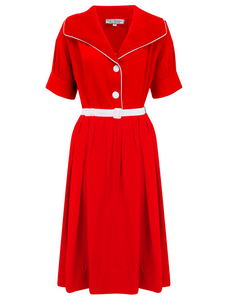 """Ritzy"" Dress in Red with Contrast White Hip Bows & Piping by Rock n Romance, Classic 1950s Style Inspired"