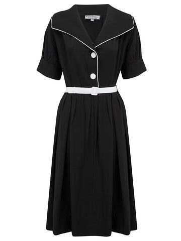 """Ritzy"" Dress in Black with Contrast White Piping by Rock n Romance, Classic 1950s Style Inspired"