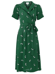 "The Seamstress of Bloomsbury ""Peggy"" Wrap Dress in Green with Doggy Print, Classic 1940s Vintage Style - RocknRomance Clothing"