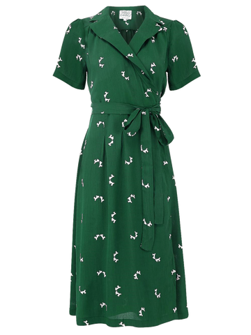 """Peggy"" Wrap Dress in Vintage Green with Doggy Print by The Seamstress of Bloomsbury, Classic The 1940s Vintage Inspired Style"