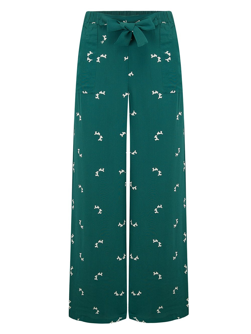 "The Seamstress Of Bloomsbury ""Winnie"" Wide Leg Loose Fit Trousers in Vintage Green with Doggy Print, Classic 1940s - RocknRomance Clothing"