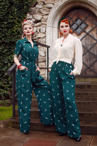 "The Seamstress Of Bloomsbury ""Audrey"" Trousers in Vintage Green with Doggy Print, Classic 1940s Vintage Style - RocknRomance Clothing"
