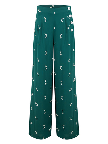 """Audrey"" Trousers in Vintage Green with Doggy Print by The Seamstress of Bloomsbury, Classic 1940s Vintage Style"