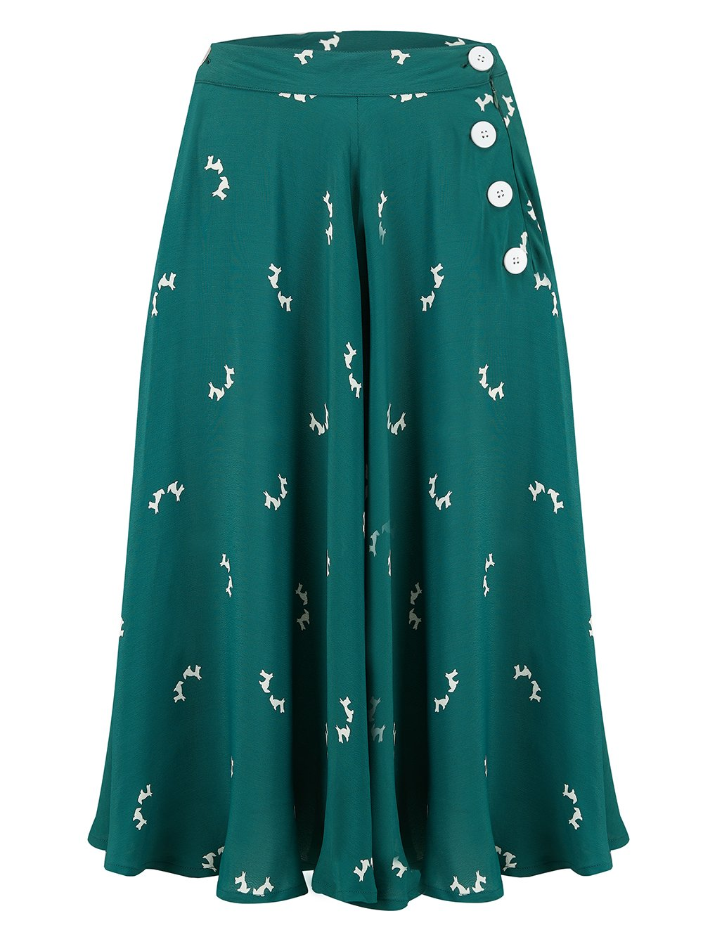 """Isabelle"" Skirt in Vintage Green with Doggy Print by The Seamstress of Bloomsbury, Classic & Authentic 1940s Vintage Inspired Style"