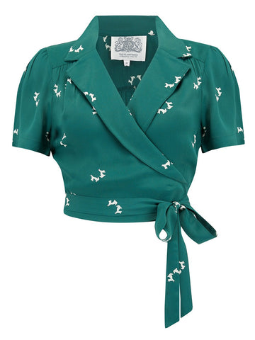 "The Seamstress Of Bloomsbury ""Greta"" Wrap Blouse in Vintage Green with Doggy Print by The Seamstress Of Bloomsbury, Classic 1940s Vintage Inspired Style - RocknRomance Clothing"
