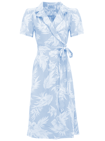 "The Seamstress of Bloomsbury ""Peggy"" Wrap Dress in Baby Blue Hawaiian Print by, Authentic Late 1940s Vintage Style - RocknRomance Clothing"