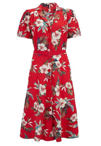 "Rock n Romance ""Charlene"" Shirtwaister Dress in Red Hawaiian Print, Perfect 1950s Style - RocknRomance Clothing"