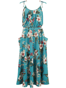 "Rock n Romance ""Suzy"" Sun Dress in Teal Hawaiian Print, Authentic 1950s Vintage Tiki Style - RocknRomance Clothing"