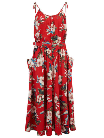 "Rock n Romance ""Suzy"" Sun Dress in Red Hawaiian Print, Authentic 1950s Vintage Tiki Style - RocknRomance Clothing"
