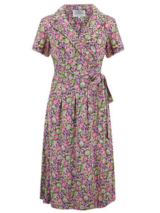 """Peggy"" Wrap Dress in Lilac Floral by The Seamstress of Bloomsbury, Authentic 1940s Vintage Inspired Style"