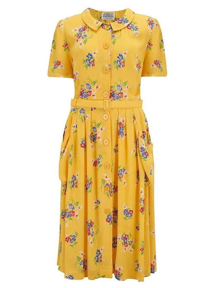 """Daphne"" Dress in NEW Mimosa Floral by The Seamstress of Bloomsbury, Authentic 1940s Vintage Inspired Style"