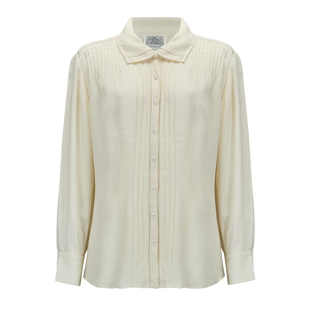 "The Seamstress Of Bloomsbury ""Alice"" Long Sleeve Blouse in Cream, Authentic & Classic 1940s Vintage Style"