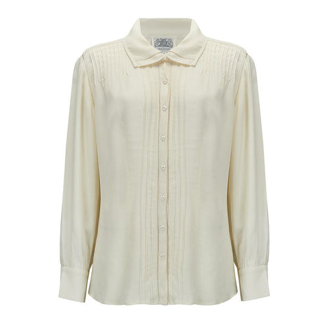 """Alice"" Long Sleeve Blouse in Cream, Authentic & Classic 1940s Vintage Style - RocknRomance True 1940s & 1950s Vintage Style"