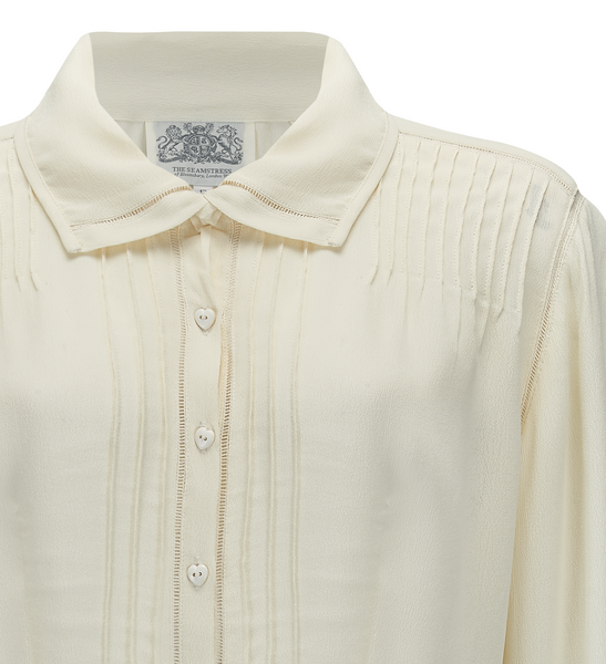"The Seamstress Of Bloomsbury ""Alice"" Long Sleeve Blouse in Cream, Authentic & Classic 1940s Vintage Style - RocknRomance Clothing"