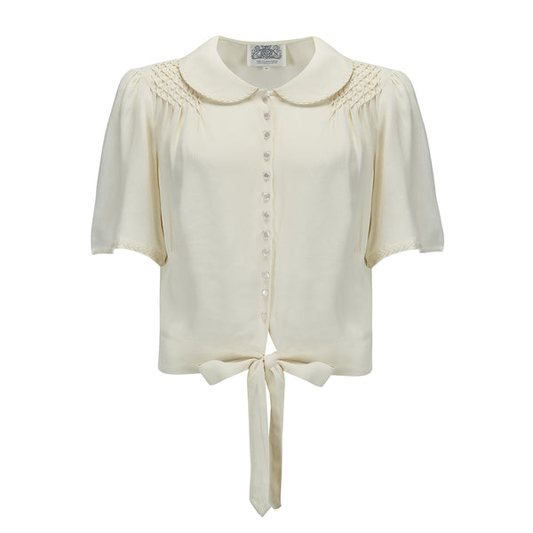 "NEW ""Helen"" Blouse in Cream with Matching Cream Ric-Rac Details by The Seamstress Of Bloomsbury, Authentic & Classic 1940s Vintage Inspired Style"